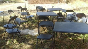 Some of the chairs and table